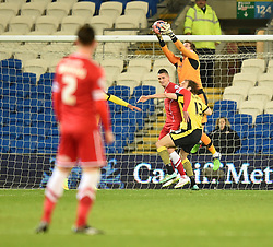Colchester United's Sam Walker makes a save in FA Cup Third Round against Cardiff City - Photo mandatory by-line: Paul Knight/JMP - Mobile: 07966 386802 - 02/01/2015 - SPORT - Football - Cardiff - Cardiff City Stadium - Cardiff City v Colchester United - FA Cup Third Round