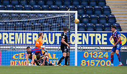 Inverness Caledonian Thistle's Jake Mulraney's (15, not in pic) shot hits the post. Falkirk 0 v 0 Inverness Caledonian Thistle, Scottish Championship game played 14/10/2017 at The Falkirk Stadium.