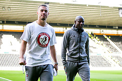 Benik Afobe of Bristol City and Tommy Rowe of Bristol City arrives at Pride Park for the Sky Bet Championship fixture against Derby County  - Mandatory by-line: Robbie Stephenson/JMP - 20/08/2019 - FOOTBALL - Pride Park Stadium - Derby, England - Derby County v Bristol City - Sky Bet Championship