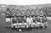 Galway team before the All Ireland Senior Gaelic Football Championship Final Dublin V Galway at Croke Park on the 22nd September 1974. Dublin 0-14 Galway 1-06.<br />