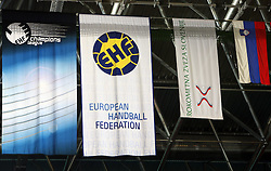 Flag of Champins League, EHF (European Handball Federation), RZS and Slovenia at handball match RK Celje Pivovarna Lasko vs FC Barcelona (ESP) 4th group of EHF Champions league Men, on March 1, 2008 in Celje, Slovenia. Win of Barcelona 27:32. (Photo by Vid Ponikvar / Sportal Images)