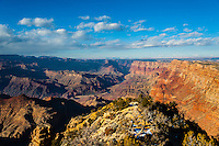 United States, Arizona, Grand Canyon. Desert View is the first lookout when arriving from the east. A lot of the panorama here also includes a view of the Painted Desert.