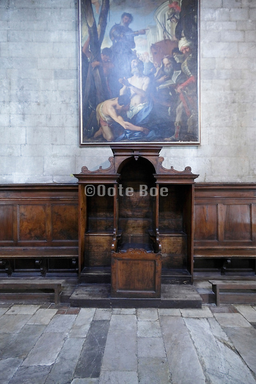 confessional with large painting