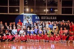 Group photo during special artistic roller skating event when Lucija Mlinaric of Slovenia, World and European Champion ended her successful sports career, on November 7, 2015 in Rence, Slovenia. Photo by Vid Ponikvar / Sportida
