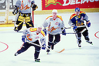 1996:  RHI Allstar game.  Tony Szabo and Joe Cook  in action during a Roller Hockey International RHI indoor inline hockey game.  Original image scan from negative, print or  transparency.  Image is available for personal or editorial use only.