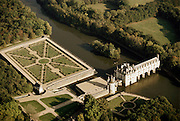 Aerial of the Chateau at Chenonceaux in the Loire Valley, France.