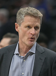 January 6, 2018 - Los Angeles, California, U.S - Coach,�Steve Kerr of the Golden State Warriors during their NBA game with the Los Angeles Clippers on Saturday January 6, 2018 at the Staples Center in Los Angeles, California. Clippers vs Warriors. (Credit Image: © Prensa Internacional via ZUMA Wire)