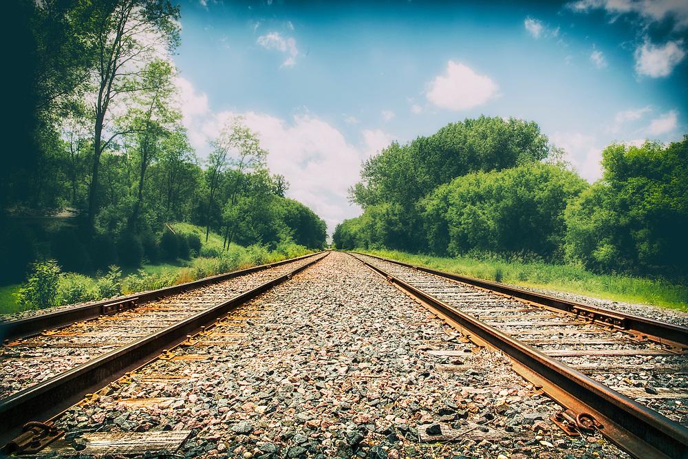 Follow the train tracks through the vast beyond - railroad from ground level in Minnetonka, Minnesota