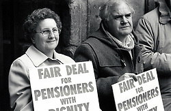 Pensioners protest, Derby, UK April 1989
