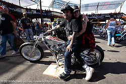 Custom bike builder Koh Sakaguchi of Suicide Customs in Aichi Prefecture in Japan with an amazing Harley-Davidson Sportster build at the Rats Hole annual custom bike show in the Crossroads area of the Buffalo Chip during the Sturgis Black Hills Motorcycle Rally. SD, USA. Thursday, August 8, 2019. Photography ©2019 Michael Lichter.