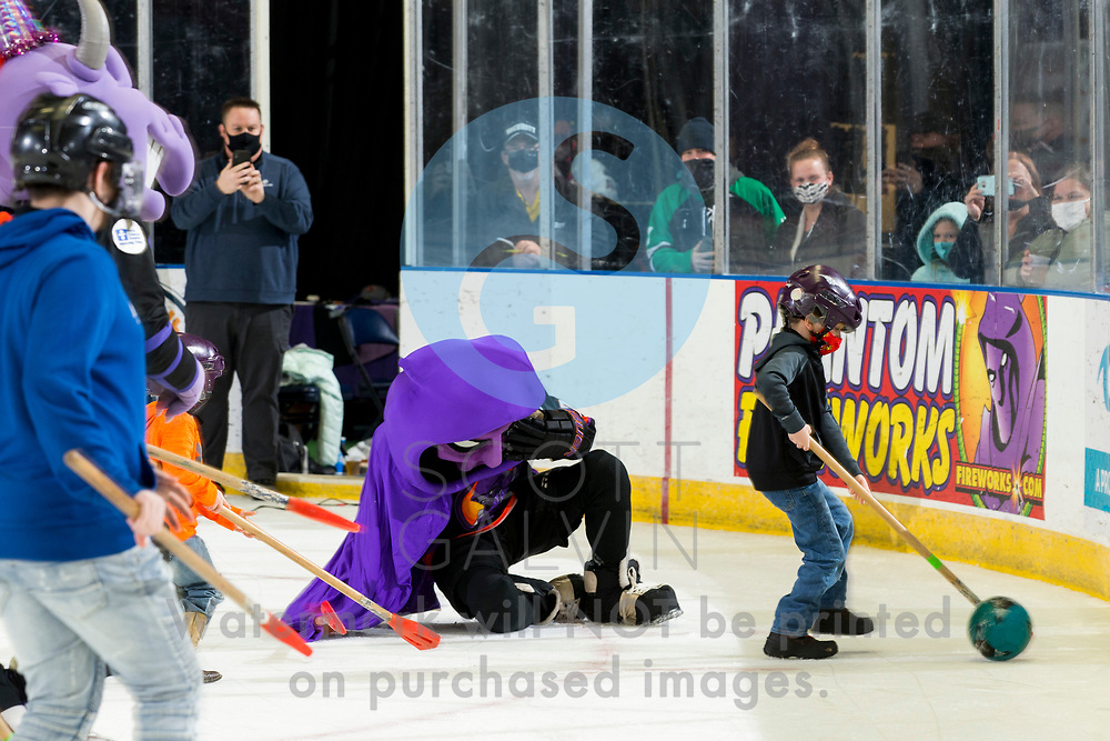 The Youngstown Phantoms defeat the Chicago Steel 5-2 at the Covelli Centre on January 23, 2021.<br /> <br /> Phantom, mascot