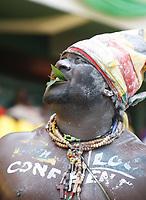 Photo: Steve Bond/Richard Lane Photography.<br />Ghana v Cameroon. Africa Cup of Nations. 07/02/2008. Ghana fan seekd good fortune