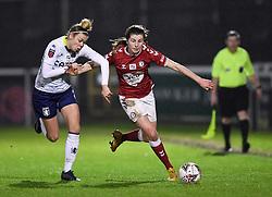 Emma Bissell of Bristol City Women is challenged - Mandatory by-line: Ryan Hiscott/JMP - 13/01/2021 - FOOTBALL - Twerton Park - Bath, England - Bristol City Women v Aston Villa Women - FA Continental Cup quarter final