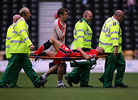 Photo: Rich Eaton.<br /> <br /> Derby County v Southampton. Coca Cola Championship.<br /> <br /> 06/08/2006. Southampton skipper Claus Lundekvan is carried off after less than 5 minutes of the season
