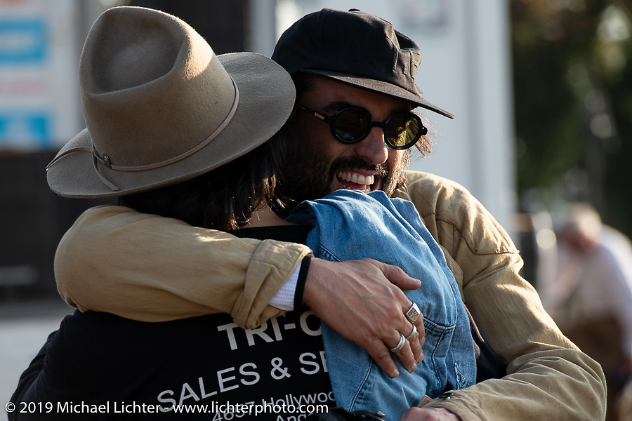 David Borras of El Solitario MC in Spain give Blue Groove Taka a big hug at the Okie Dokie Vintage Races put on by Go Takamine's Brat Style at West Point Off-Road Village, Kawagoe, Saitama, Japan. Tuesday, December 4, 2018. Photography ©2018 Michael Lichter.