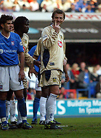 Photographer: Scott Heavey<br />Ipswich Town V Portsmouth. 18/04/03.<br />Tim Sherwood responds to chants from the Ipswich crowd, letting them know he's on his way to the Premiership during this Nationwide Division one match at Portland Road.