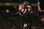 Yaya Toure of Manchester City celebrates after scoring his sides 2nd goal with Kevin De Bruyne of Manchester City. Premier League match, Crystal Palace v Manchester city at Selhurst Park in London on Saturday 19th November 2016. pic by John Patrick Fletcher, Andrew Orchard sports photography.