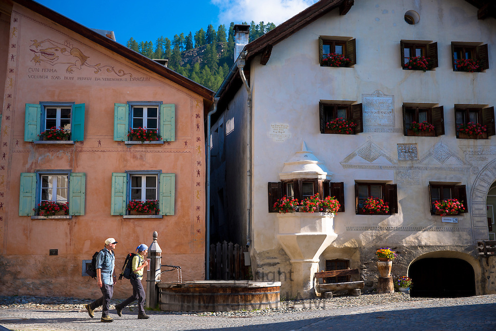 Village of Guarda in the Lower Engadine valley has old world charm and painted stone 17th Century buildings, Switzerland