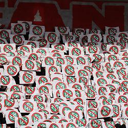 Anti DFB Plakate beim Spiel in der 3. Liga, Hallescher FC - FC Ingolstadt 04.<br /> <br /> Foto © PIX-Sportfotos *** Foto ist honorarpflichtig! *** Auf Anfrage in hoeherer Qualitaet/Aufloesung. Belegexemplar erbeten. Veroeffentlichung ausschliesslich fuer journalistisch-publizistische Zwecke. For editorial use only. DFL regulations prohibit any use of photographs as image sequences and/or quasi-video.