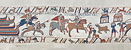 Bayeux Tapestry scene 40:  Norman soldiers ride to Hastings to make camp. BYX40 .<br /> <br /> If you prefer you can also buy from our ALAMY PHOTO LIBRARY  Collection visit : https://www.alamy.com/portfolio/paul-williams-funkystock/bayeux-tapestry-medieval-art.html  if you know the scene number you want enter BXY followed bt the scene no into the SEARCH WITHIN GALLERY box  i.e BYX 22 for scene 22)<br /> <br />  Visit our MEDIEVAL ART PHOTO COLLECTIONS for more   photos  to download or buy as prints https://funkystock.photoshelter.com/gallery-collection/Medieval-Middle-Ages-Art-Artefacts-Antiquities-Pictures-Images-of/C0000YpKXiAHnG2k