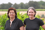 Chantal Lecouty , left, and Karen Turner Prieure de St Jean de Bebian. Pezenas region. Languedoc. ex-Owner winemaker. France. Europe. Vineyard.