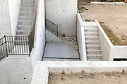 concrete stairs and walls at a new residential housing development