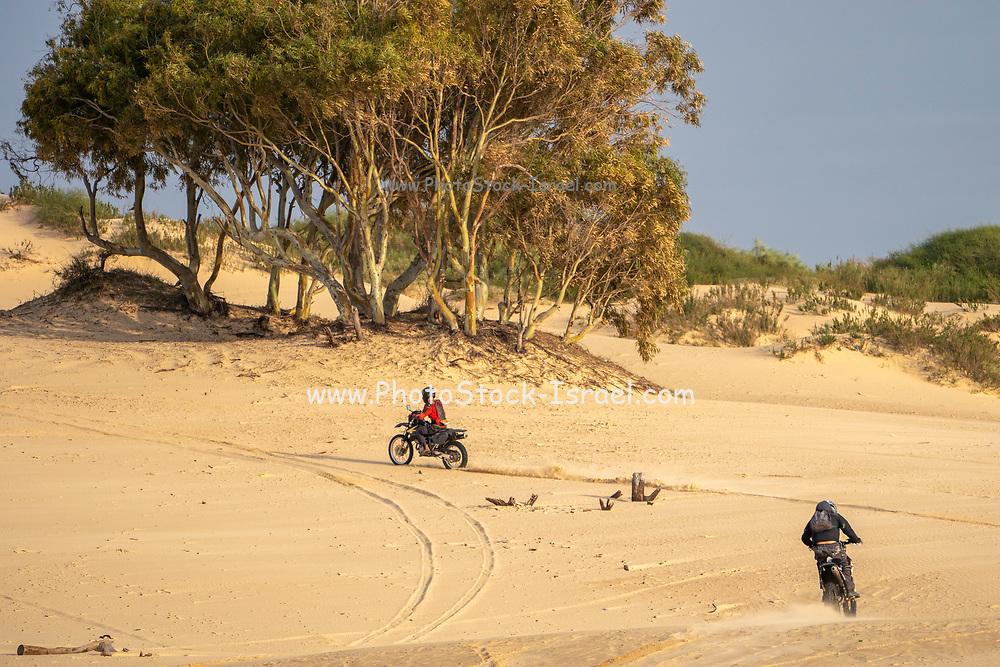 Dirt bike on a sand dune