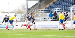 Morton's Mark McLaughling scoring their first goal..half time : Falkirk 0 v 1 Morton, 4/5/2013..© Michael Schofield..