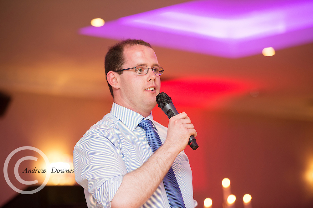The Ability West Best Buddies Ball at the Menlo Park Hotel, Galway. Students from GMIT and NUIG buddy up with Ability West Service users for friendships that last a lifetime celebrated at this gala ball.<br /> Performing his stand up routine was the hilarious John Farragher.  Photo:Andrew Downes, xposure.