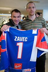 Dejan Zavec and Andrej Tavzelj at meeting of Slovenian Ice-Hockey National team and boxer Dejan Zavec - Jan Zaveck alias Mister Simpatikus, on April 15, 2010, in Hotel Lev, Ljubljana, Slovenia.  (Photo by Vid Ponikvar / Sportida)