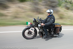 Giuseppe Savoretti of Italy riding his 1931 Moto Guzzi on Interstate 70 near Grand Junction, Colorado during Stage 10 (278 miles) of the Motorcycle Cannonball Cross-Country Endurance Run, which on this day ran from Golden to Grand Junction, CO., USA. Monday, September 15, 2014.  Photography ©2014 Michael Lichter.