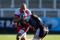 Rugby Union - 2020 / 2021 Gallagher Premiership - Round 11 - Newcastle Falcons vs Harlequins - Kingston Park<br /> <br /> Aaron Morris of Harlequins is tackled by Sean Robinson of Newcastle Falcons<br /> <br /> Credit: COLORSPORT/BRUCE WHITE