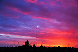 © Licensed to London News Pictures. 31/07/2020. London, UK. Stunning colourful sky during sunset over north London on the hottest day of the year so far. Photo credit: Dinendra Haria/LNP