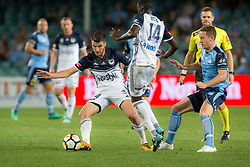 April 13, 2018 - Sydney, NSW, U.S. - SYDNEY, NSW - APRIL 13: Melbourne Victory midfielder Terry Antonis (24) turn away from Sydney FC midfielder Brandon O'Neill (13) at the A-League Soccer Match between Sydney FC and Melbourne Victory on April 13, 2018 at Allianz Stadium in Sydney, Australia. (Photo by Speed Media/Icon Sportswire) (Credit Image: © Speed Media/Icon SMI via ZUMA Press)