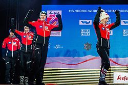 02.03.2019, Seefeld, AUT, FIS Weltmeisterschaften Ski Nordisch, Seefeld 2019, Siegerehrung, im Bild Silbermedaillengewinner Eva Pinkelnig (AUT), Philipp Aschenwald (AUT), Daniela Iraschko-Stolz (AUT), Stefan Kraft (AUT) // Silver medalist Eva Pinkelnig Philipp Aschenwald Daniela Iraschko-Stolz Stefan Kraft of Austria during the winner Ceremony for the FIS Nordic Ski World Championships 2019. Seefeld, Austria on 2019/03/02. EXPA Pictures © 2019, PhotoCredit: EXPA/ Stefan Adelsberger