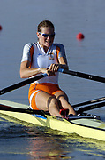 20040814 Olympic Games Athens Greece [Rowing]<br /> Photo  Peter Spurrier <br /> NED W1X Femke Dekkers, moves off the start on the opening day of the Olympic regatta.<br /> <br /> email;  images@intersport-images.com<br /> Tel +44 7973 819 551<br /> T<br /> <br /> <br /> [Mandatory Credit Peter Spurrier/ Intersport Images][Mandatory Credit Peter Spurrier/ Intersport Images]