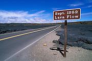 Sign marking the 1982 lava flow in the Kilauea Caldera, Hawaii Volcanoes National Park, The Big Island, Hawaii