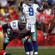 Dallas Cowboys quarterback Tony Romo (9) an Dallas Cowboys guard Kyle Kosier (63) during an NFL football game between the Dallas Cowboys and the San Francisco 49ers at Candlestick Park on Sunday, Sept. 18, 2011 in San Francisco, CA.  (Photo/Alex Menendez)