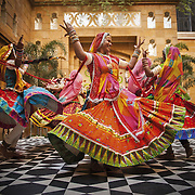 Rajasthani dancers during Ladies Sangeet ceremony in Udaipur. As the name suggests,  Sangeet is all about dance and music and is traditionally exclusively for women. The family of the bride invite female relatives and associates to sing folk songs dedicated to marriage and bride. The songs range from making light fun of the groom and the in-laws, to advising the bride how to lead her marital life to feeling sad about the girl leaving her parents' home forever.
