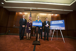 October 3, 2017 - Washington, District Of Columbia, USA - AVERY GARDINER, co-president of the Brady Campaign, flanked by Democratic Senators, speaks with the media during a press conference on gun violence held at the United States Capitol. The group of lawmakers demanded new legislation to bring forward gun control measures in response to the mass shooting in Las Vegas. (Credit Image: © Alex Edelman via ZUMA Wire)