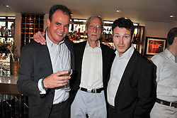 Left to right, JAKE ARNOTT, Great Train robber and writer BRUCE REYNOLDS and actor NICK MORAN at a party to celebrate the publication on The House of Rumour by Jake Arnott held at The Ivy Club, West Street, London on 9th July 2012.