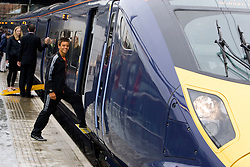 Tom Daley boards the Javelin train at St Pancras for the time trial to Stratford International station picture taken 27.07.09 by  David Poultney