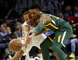 January 16, 2019 - Los Angeles, California, U.S - Los Angeles ClippersÃ• Avery Bradley (11) and Utah Jazz's Donovan Mitchell (45) fight for a ball during an NBA basketball game between Los Angeles Clippers and Utah Jazz Wednesday, Jan. 16, 2019, in Los Angeles. (Credit Image: © Ringo Chiu/ZUMA Wire)