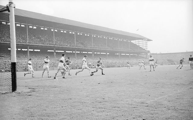 Derry's T. Quinn clears the ball during the All Ireland Minor Gaelic football final Derry v. Kerry in Croke park on the 26th September 1965.