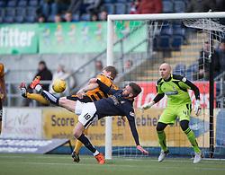Falkirk's Lee Miller shots. <br /> Falkirk 2 v 0 Alloa Athletic, Scottish Championship game played 5/3/2016 at The Falkirk Stadium.