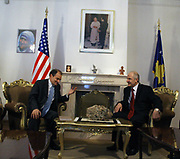 """American diplomat and Assistant Secretary of State for European and Eurasian Affairs Daniel Fried congratulated Kosovo's people and leadership for the management of the tensions with Serbia last month and reconfirmed the determination of US for protecting the territorial integrity of Kosovo and the integration of Kosovo in EU.<br /> Fried in both meetings with Kosovo's President Fatmir Sejdiu (r) and Prime Minister Hashim Thaci (not in picture) re-highlighted that Kosovo's integrity is unique and inseparable """"United States of America (USA) will not tolerate Kosovo's partition"""" he said during a press conference on Friday, March 7, 2008. (Photo/ Vudi Xhymshiti)"""