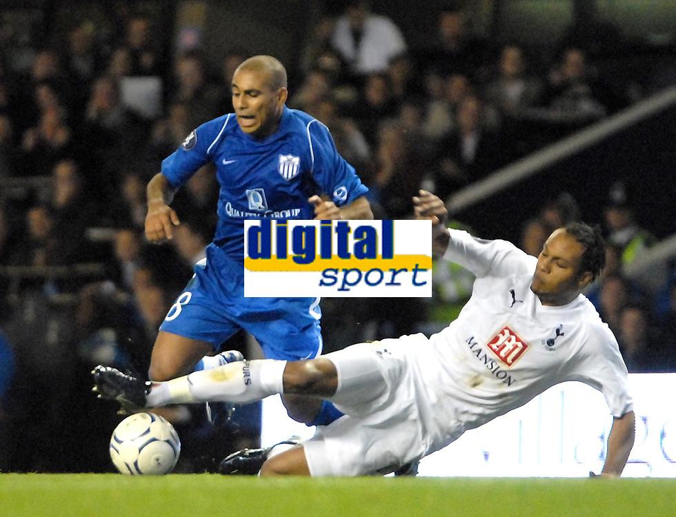 Photo: Ed Godden/Sportsbeat Images.<br /> Tottenham Hotspur v Anorthosis Famagusta. UEFA Cup, First Leg. 20/09/2007. Spurs' Younes Kaboul (R), slides in on Fabio De Matos Pereira.