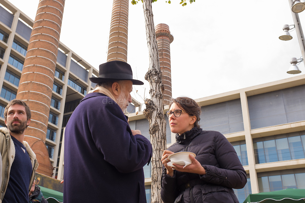 Founder of slow food movement Carlo Petrini and food campaigner Nathalie Pares at the Tres Xemeneies Slow Food Market, on Parallel, Barcelona 11 February 2017.