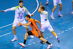 11-04-2019 NED: Netherlands - Slovenia, Almere<br /> Third match 2020 men European Championship Qualifiers in Topsportcentrum in Almere. Slovenia win 26-27 / Kay Smits #21 of Netherlands, Matic Suholeznik #95 of Slovenia, Gasper Marguc #6 of Slovenia