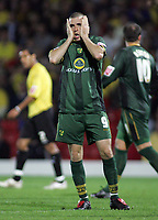 Photo: Paul Thomas.<br /> Watford v Norwich. Coca Cola Championship.<br /> 13/09/2005.<br /> <br /> Norwich's Dean Marney puts a last minute attempt at goal wide.
